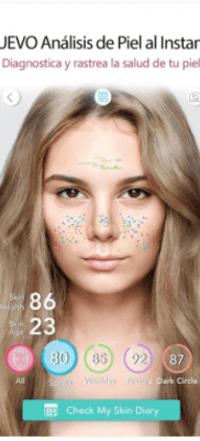 YouCam MakeUp analisis y diagnostico de imperfecciones